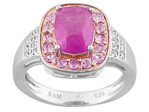 Photo of 2.08ctw Rectangular Cushion & Round Pink Mahaleo® Sapphire, .08ctw Round White Zircon Silver Ring - Size 12