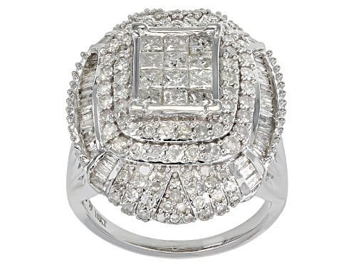 Photo of 2.75ctw Round, Princess Cut, & Baguette Diamond 10k White Gold Ring - Size 7