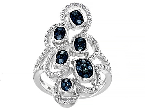 0.20ctw Round Blue Velvet Diamonds™ Rhodium Over Sterling Silver Ring - Size 6