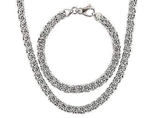 Photo of Moda Al Massimo® Rhodium Over Bronze Byzantine Link 18 Inch Chain & 7 1/2 Inch Bracelet Set Of 2
