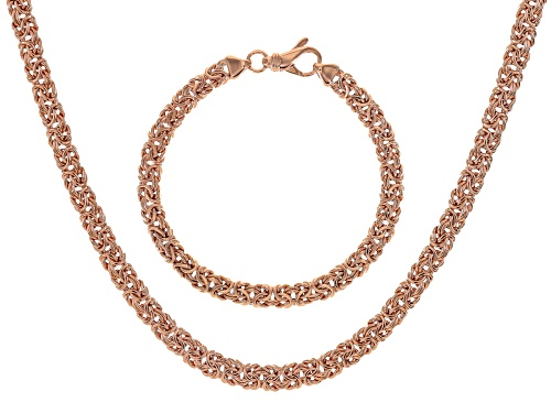Photo of Moda Al Massimo® 18k Rose Gold Over Bronze Flat Byzantine Link Chain & Braceelet Set Of 2