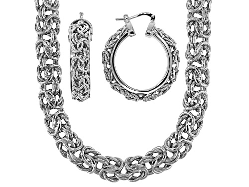 Photo of Moda Al Massimo® Rhodium Over Bronze Byzantine Link 20 Inch Necklace And Hoop Earring Set