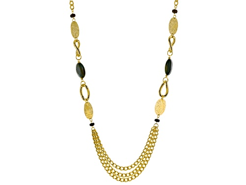 "Photo of Moda Al Massimo® Agate Bead Stations 18k Yellow Gold Over Bronze Multi-Strand 36"" Necklace - Size 36"