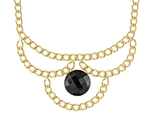 Photo of Moda Al Massimo® Black Agate Bead 18k Yellow Gold Over Bronze Curb Link Necklace - Size 18