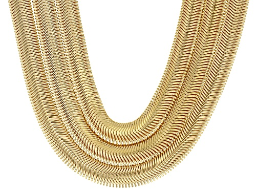 Photo of Moda Al Massimo® 18k Yellow Gold Over Bronze 3-Row Snake Link Necklace - Size 26