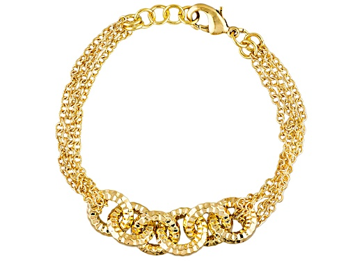 Photo of Moda Al Massimo® 18k Yellow Gold Over Bronze Diamond Cut Cable Link Station 8 Inch Bracelet - Size 8