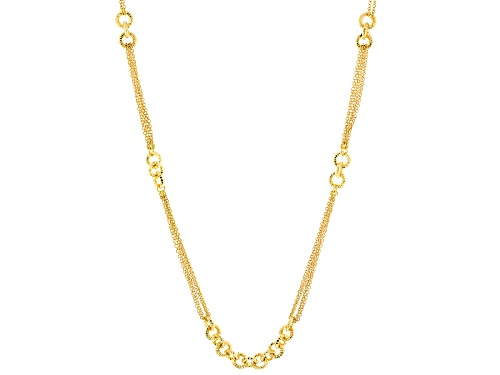 Photo of Moda Al Massimo® 18k Yellow Gold Over Bronze Multi-Strand Cable Link Station 42 Inch Necklace - Size 42