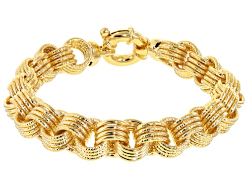 Photo of Moda Al Massimo® 18k Yellow Gold Over Bronze Diamond Cut Round Cable Link 7 1/2 Inch Bracelet - Size 7.5
