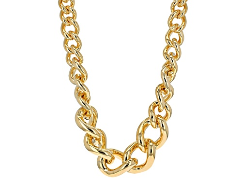 Photo of Moda Al Massimo® 18k Yellow Gold Over Bronze Graduated Curb Link 20 1/2 Inch Necklace - Size 20.5