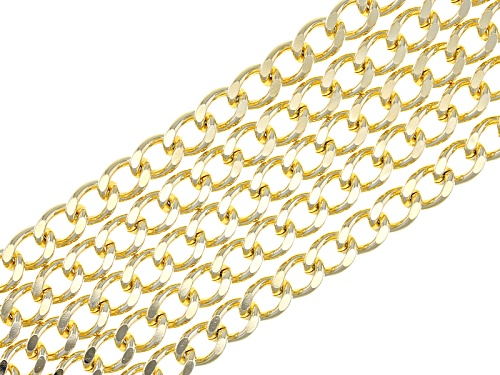 Photo of Moda Al Massimo® 18k Yellow Gold Over Bronze Five Row Curb Link 7 1/2 Bracelet - Size 7.5