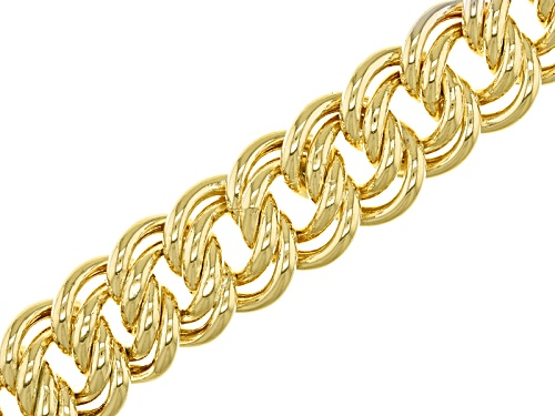Photo of Moda Al Massimo® 18k Yellow Gold Over Bronze Double Curb Link 8 1/2 Inch Bracelet - Size 8.5