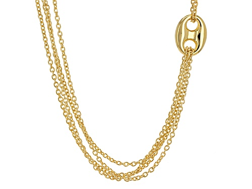 Photo of Moda Al Massimo® 18k Yellow Gold Over Bronze Multi-Strand Station Cable Link 30 Inch Necklace - Size 30