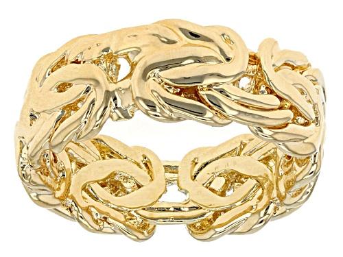 Photo of Moda Al Massimo® 18k Yellow Gold Over Bronze Byzantine Link Band Ring - Size 7