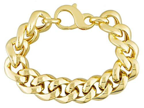 Photo of Moda Al Massimo® 18k Yellow Gold Over Bronze 17mm Curb Link 8 Inch Bracelet - Size 8