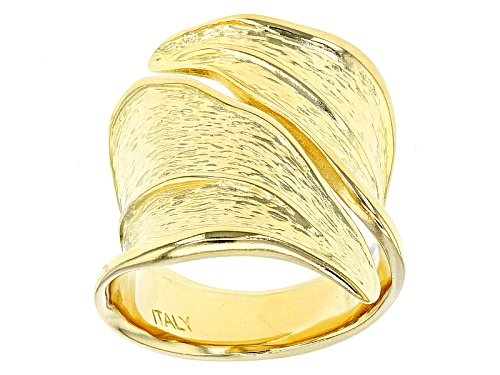 Photo of Moda Al Massimo® 18k Yellow Gold Over Bronze Bypass Textured Leaf Ring - Size 5