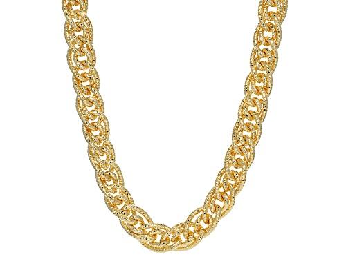 Photo of Moda Al Massimo® 18k Yellow Gold Over Bronze Interwoven Diamond Cut Curb 22 Inch Necklace - Size 22