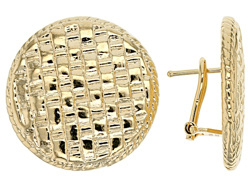 Photo of Moda Al Massimo® 18k Yellow Gold Over Bronze Button Mesh Weave Earrings