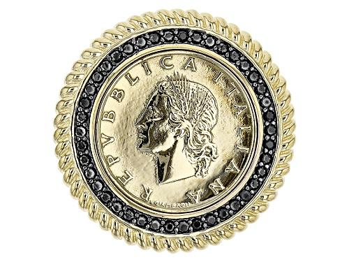 Photo of Moda Al Massimo® 0.4ctw Black Spinel 18k Yellow Gold & Rhodium Over Bronze Lira Coin Pendant