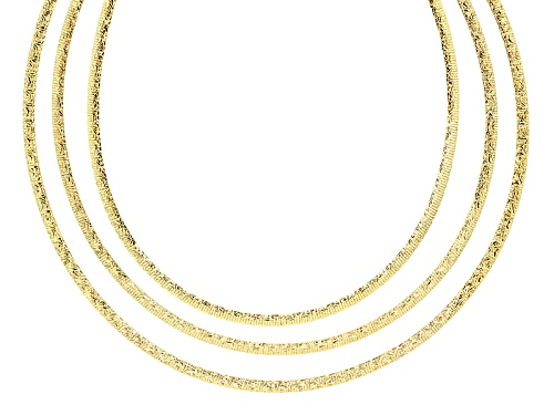 Photo of Moda Al Massimo® 18k Yellow Gold & Rhodium Over Bronze Reversible Omega 17 Inch Necklace - Size 17