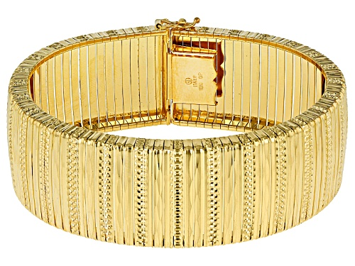 Moda Al Massimo® 18k Yellow Gold Over Bronze Textured Omega 7 1/2 Inch Bracelet - Size 7.5