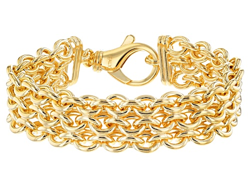 Photo of Moda Al Massimo® 18k Yellow Gold Over Bronze 3 Row Cable 8 3/4 Inch Bracelet - Size 8.75