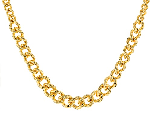 Photo of Moda Al Massimo® 18k Yellow Gold Over Bronze Diamond Cut Graduated Curb 18 Inch Necklace - Size 18