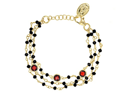 Photo of Moda Al Massimo® 18k Yellow Gold Over Bronze Multi-Strand With Saint Medallion 8 Inch Bracelet - Size 8