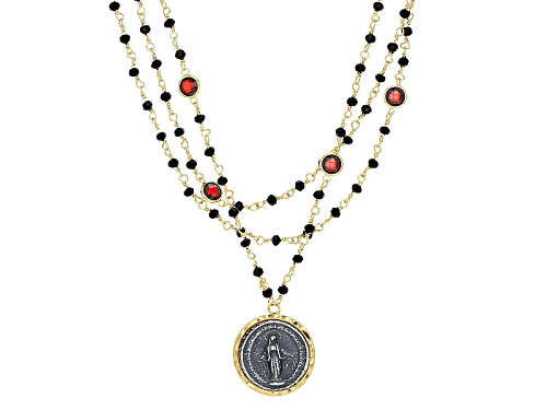Photo of Moda Al Massimo® 18k Yellow Gold Over Bronze Multi-Row With Saint Medallion 21 1/2 Inch Necklace