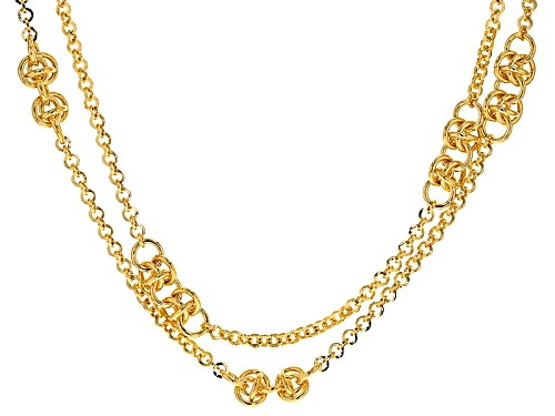 Photo of Moda Al Massimo® 18k Yellow Gold Over Bronze Byzantine Station 31 Inch Necklace - Size 31