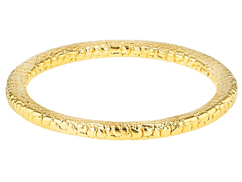 Moda Al Massimo® 18k Yellow Gold Over Bronze Textured 8 Inch Bangle Bracelet - Size 8