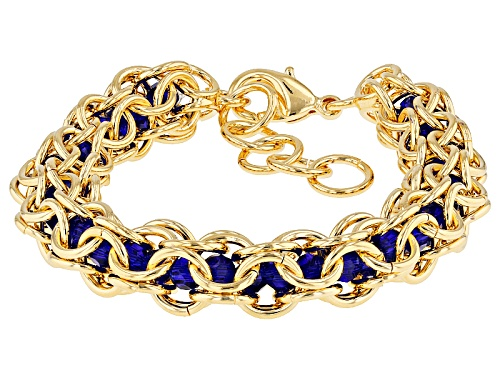 Photo of Moda Al Massimo® 18k Yellow Gold Over Bronze Lattice With Blue Glass Beads 7 Inch Bracelet - Size 7