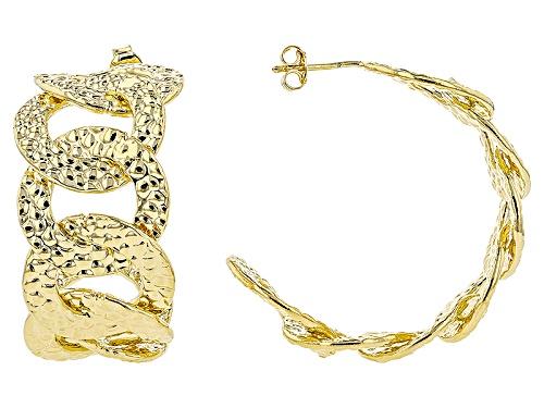 Photo of Moda Al Massimo® 18k Yellow Gold Over Bronze Curb Hoop Earrings