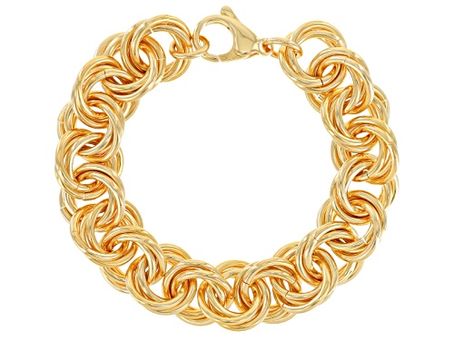 Photo of Moda Al Massimo® 18k Yellow Gold Over Bronze Polished Rolling Rolo 8 1/4 Inch Bracelet - Size 8.25