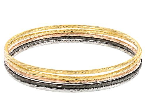 Photo of Moda Al Massimo® 18k Yellow 18k Rose And Rhodium Over Bronze Bangle Bracelet Set Of Five - Size 8.25