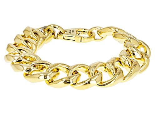 Moda Al Massimo® 18k Yellow Gold Over Bronze Flattened Curb 7.5 Inch Bracelet - Size 7.5
