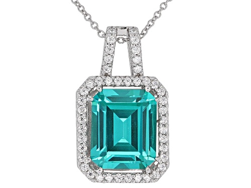 Photo of Bella Luce® Esotica™6.70ctw Multi Gem Simulants Rhodium Over Sterling Silver Pendant With Chain