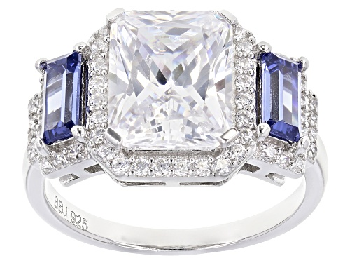 Photo of Bella Luce®Esotica™ 7.65ctw Tanzanite And White Diamond Simulants Rhodium Over Silver Ring - Size 8