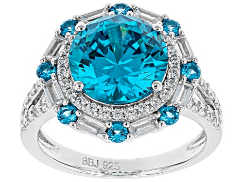 Photo of Bella Luce ® Esotica ™ Neon Apatite and Blue and White Diamond Simulants Rhodium Over Silver Ring - Size 7