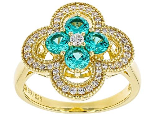 Bella Luce® Esotica™ 1.60ctw Paraiba Tourmaline and White Diamond Simulants Eterno™ Yellow Ring - Size 7