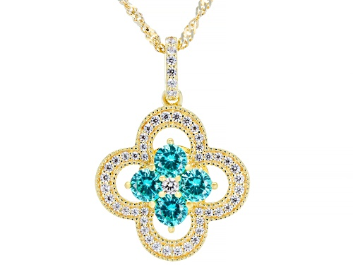 Photo of Bella Luce® 1.70ctw Paraiba Tourmaline and White Diamond Simulant Eterno™ Yellow Pendant With Chain