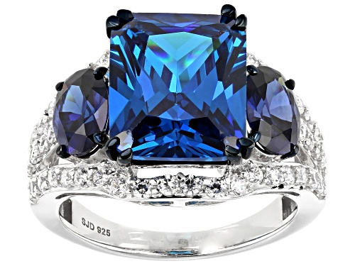 Photo of Bella Luce® Esotica™13.20ctw Neon Apatite,Tanzanite and Diamond Simulants Rhodium Over Silver Ring - Size 6