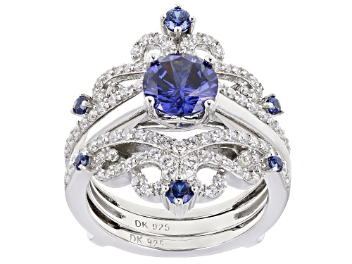 Photo of Bella Luce ® 3.92ctw Esotica ™ Tanzanite and White Diamond Simulants Rhodium Over Sterling Ring - Size 10