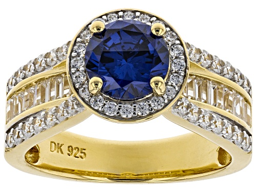 Photo of Bella Luce ® 4.19ctw Esotica ™ Tanzanite and White Diamond Simulants Eterno ™ Yellow Ring - Size 10