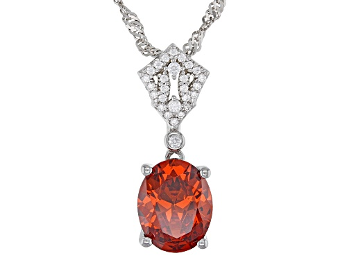 Photo of Bella Luce®Esotica™Spess Garnet and White Diamond Simulants Rhodium Over Sterling Pendant With Chain