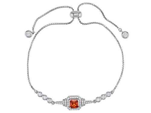Photo of Bella Luce®Esotica™Spess Garnet and White Dia Simulants Rhodium Over Sterling Adjustable Bracelet