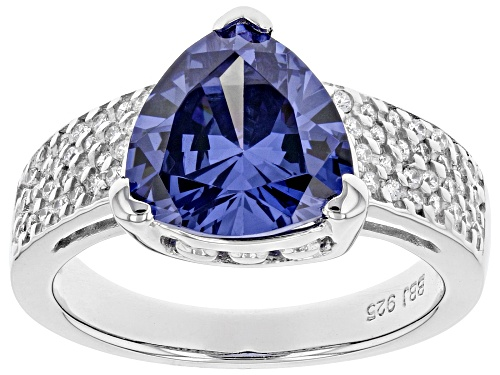 Photo of Bella Luce® Esotica™ 6.40ctw Tanzanite and White Diamond Simulant Rhodium Over Sterling Ring - Size 10