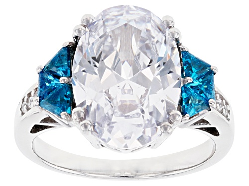 Photo of Bella Luce ® 10.53ctw Esotica ™ Neon Apatite and White Diamond Simulants Rhodium Over Sterling Ring - Size 7