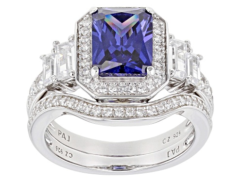 Photo of Bella Luce ® Esotica ™ Tanzanite and White Diamond Simulants Rhodium Over Sterling Ring with Band - Size 11