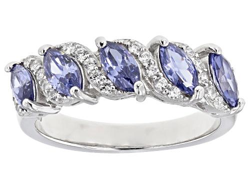 Photo of Bella Luce® Esotica™  2.56ctw Tanzanite and White Diamond Simulants Rhodium Over Silver Ring - Size 7