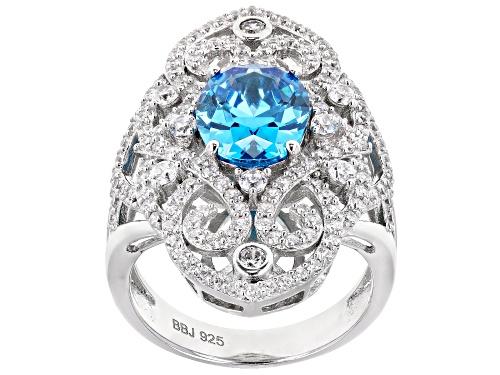 Photo of Bella Luce ® Esotica™ 5.09ctw Neon Apatite And White Diamond Simulants Rhodium Over Silver Ring - Size 7